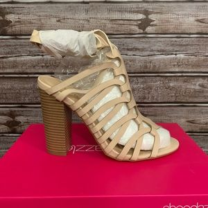 Cream Colored Block Heeled Ankle Wrap Sandal